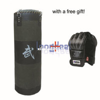 Wholesale Empty Gift Boxes - Free Gift! New 100cm Fitness Training Unfilled Boxing Punching Bag Punch Bag (Empty) With Boxing Gloves Black Free Shipping