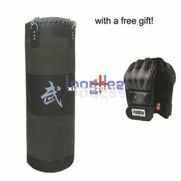 Wholesale Punching Bag Boxing - Free Gift! New 100cm Fitness Training Unfilled Boxing Punching Bag Punch Bag (Empty) With Boxing Gloves Black Free Shipping
