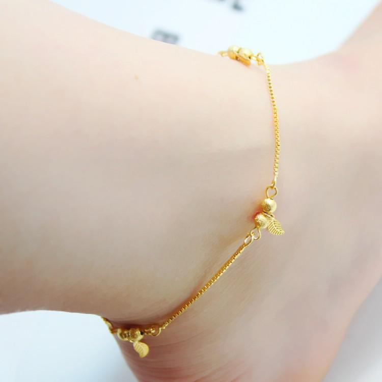 real leaf image anklet sexy ankle foot simple gold products chain product bracelet adjustable