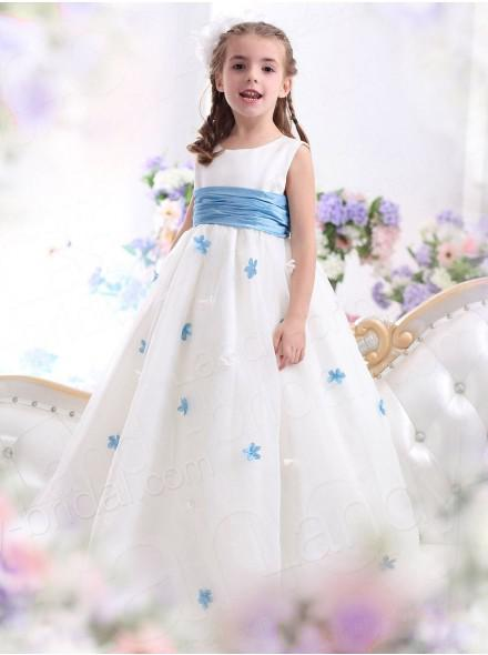 2014 light Blue Princess little girl pageant dresses Jewel Neckline Organza A-line Sugar Little Girl flower Dresses