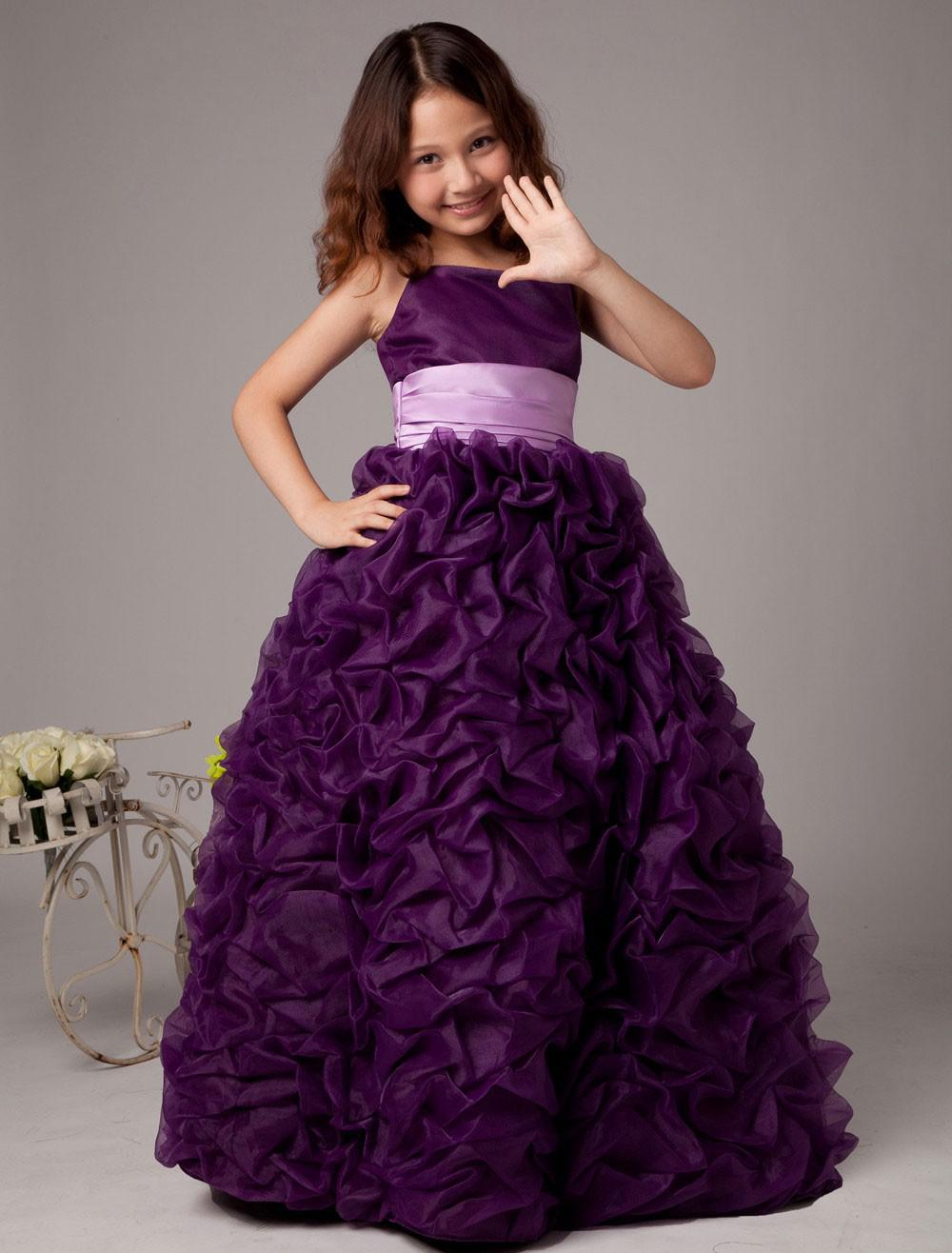 2014 Top Selling Spaghetti Sash Ball Gown Satin Organza Flower Girl Dress evening Gown