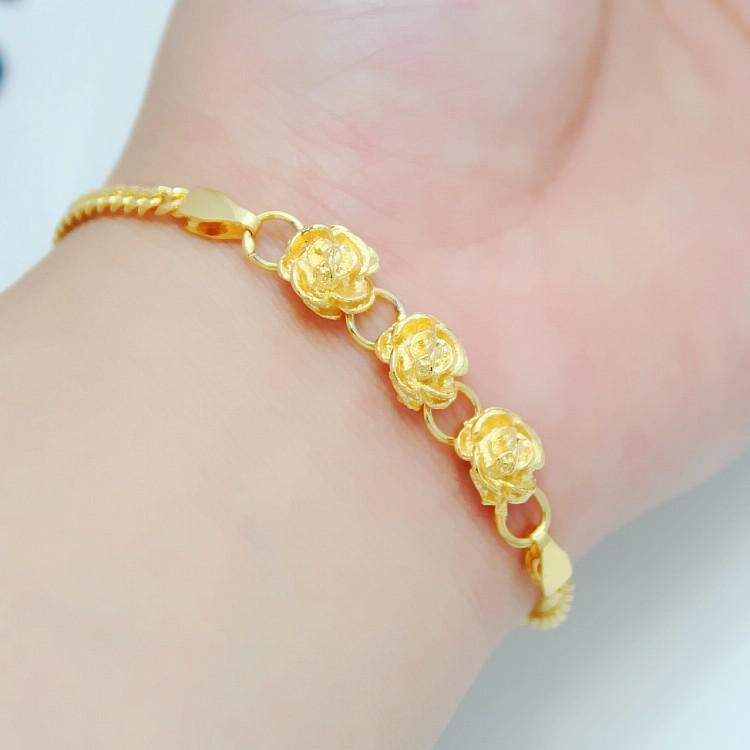 Full Three Gold Plated Package Through Flower Bracelet Female ...