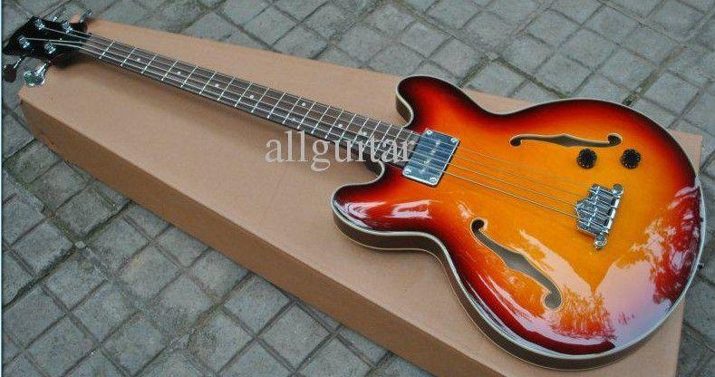 asb180 4 strings bass sunburst jazz semi hollow body electric bass guitar beginners electric. Black Bedroom Furniture Sets. Home Design Ideas