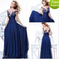 Wholesale Te Length Backless Prom Dresses - Cheap ! 20161010 Hot dark blue chiffon A line floor length evening dresses bateau cap sleeves applique sequins prom gowns TE 92130