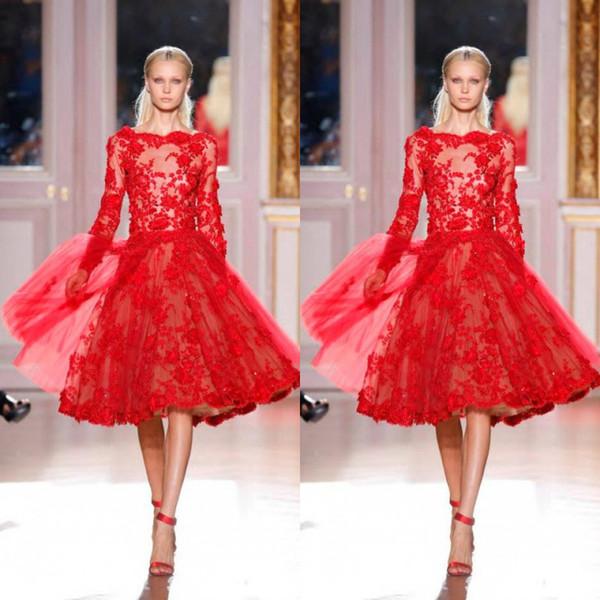 Sexy Zuhair Murad una línea de encaje de tul corta longitud de té Vestidos de cóctel / vestidos de noche / vestidos de baile con Bateau Zipper mangas largas