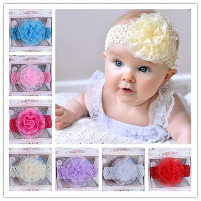 5348f12077b Infant Flower Headbands Girl Lace Headbands Children Hair Accessories  Newborn Bow Round Mesh Flower Hairbands Baby Photography Props Infant  Headbands ...