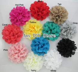 "Wholesale Eyelet Chiffon - New 4"" Lace Eyelet Flowers girls hair accessories Eyelet Fabric Flowers for headbands Chiffon Flowers for headbands hair clips-60pcs HH046"