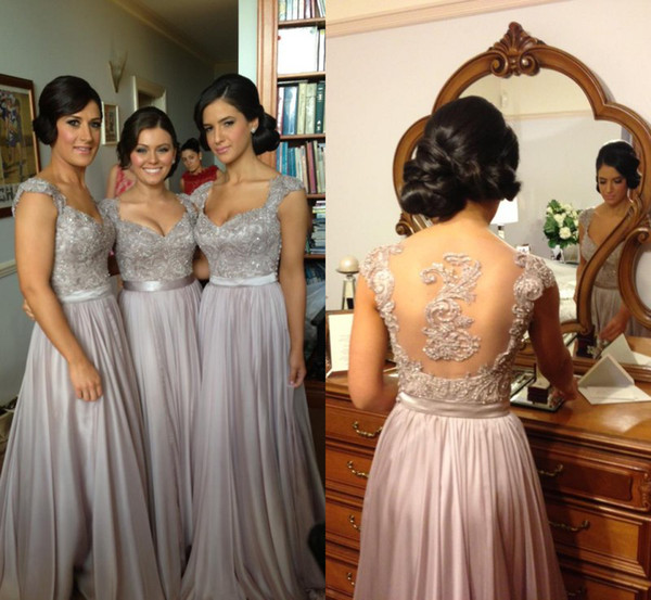 top popular 2016 In Stock Sexy Cheap Chiffon Wedding Bridesmaid Dresses Embroidery Beads A Line With Sweetheart Short Sleeve Sheer Back Floor Length 2021