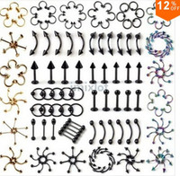 Wholesale Body Piercings - 310pcs 31styles Fashion Body Jewelery Titanium Steel Ball Bone Nose Stud Rings Fashion Stainless Steel Piercing [BB79-BB109M(310)]