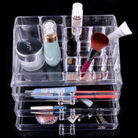Wholesale Acrylic Makeup Case Organizer - Free Shipping Acrylic Princess Makeup Organizer Fashion Cosmetic Carrying Case Box SF-1304 Christmas gift