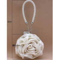 Wholesale Satin Roses Handbag - Free shipping 2016 Hot Sale High Quality Rose Flower Pleated party handbag clutch bridal flower girl handbag