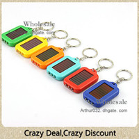 Wholesale Led Keychain Color - Super Cool Solar Power Keychain LED Flashlight Light Lamp Mini Key Chain 3 LED Multi-color Rechargeable