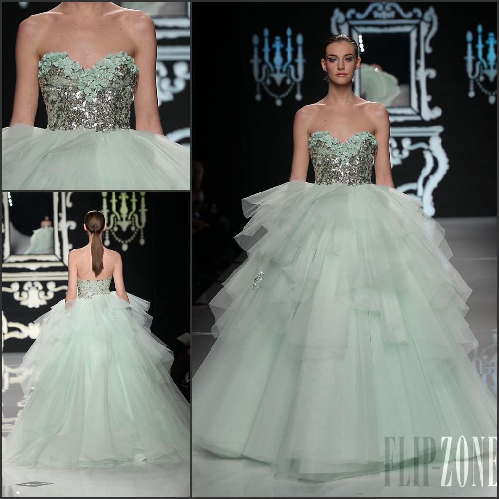 Elegant ABED MAHFOUZ Bridal Gown Runway Sweetheart Sequin Bodice Tulle Ball Teal Wedding Dress BRI 231 Halter Dresses Modest