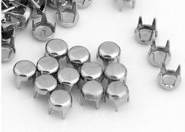 Discount punk spikes studs - 500pcs 8mm Round Gold Silver Pyramid Studs Spots Punk Rock Nailheads DIY Spikes Bag Shoes Bracelet