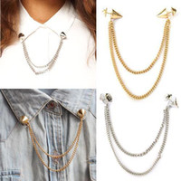 Wholesale Neck Tip Brooch Pin Chain - S5Q Spike Stud Rivet Shirt Collar Neck Tip Brooch Pin Chain Tassels Rock Goth AAABAY