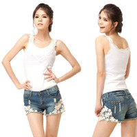 Wholesale Denim Cut Off - S5Q Women's Lace Floral Pearl Skinny Jeans Shorts Cut-Off Denim Pants Trousers AAABOX
