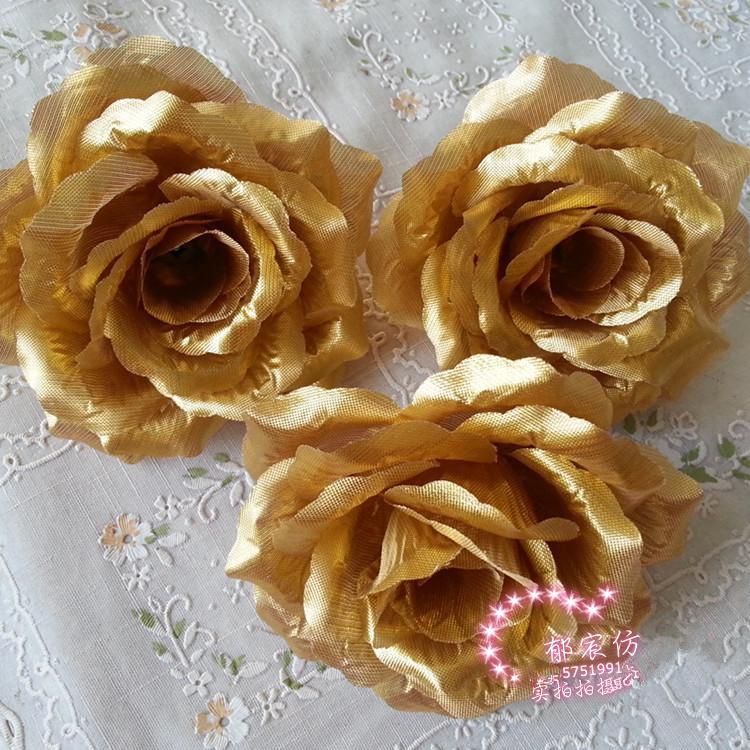 80ピース10cmシルクの造られた花の椿のローズフラワーヘッドDiyジュエリーの赤ちゃん子供髪の髪の黄金/銀色の調子