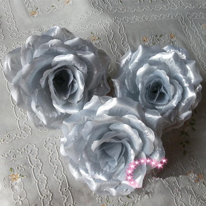 10cm silke Konstgjorda blommor Camellia Rose Flower Heads för DIY Smycken Baby Kid Hairwear Golden / Silver Tone