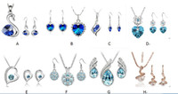 Wholesale Gemstone Bridal Jewelry Necklace Sets - 925 Silver Plated Austrian Crystal Jewelry Sets Bridal Wedding Rhinestones Gemstone Gold Jewelry African Earrings Necklace Set 868