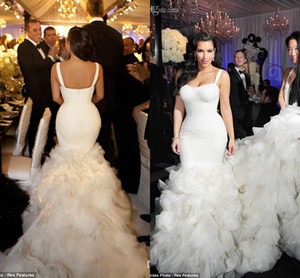Wholesale Hot Selling Sexy Kim Kardashian Mermaid Wedding Dresses Tiered Skirt Spagetti Straps Lace Organza Cathedral Train Winter Fall Bridal Gown