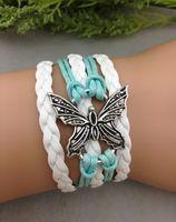 Wholesale Charms Lobster Ring - Mint green Butterfly bracelet-Infinity love ring bracelet-boyfriend girlfriend jewelry gifts hy1053