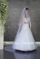 Wholesale Two Tier Chapel Length Veil - Custom Made White   Ivory Cathedral Length Wedding Veil Two Tier Long Wedding Dresses Bridal Veils Hot Sale