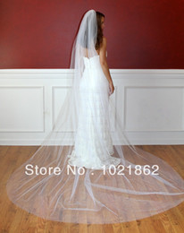 Wholesale 1t ivory veil - Custom Made White Ivory Color Elegant 1T Cathedral Long Wedding Bridal Veils With Comb 3M bridal veil wedding accessories AL0063