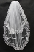 Wholesale Off White Bridal Veils - Off The Rack Wedding Dresses Veils With Appliques Lace Two Layers Elbow Length Bridal Veil Hot Sale
