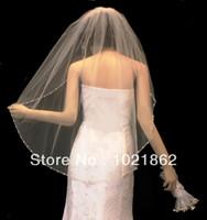 Wholesale Wedding Veil Tier Beaded - Custom Made!! NEW 1 TIER CRYSTAL BEADED PEARL EDGE WEDDING BRIDAL VEIL AL0173