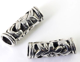 Wholesale European Big Hole Beads - 55pcs lot Tibetan Silver Hollow Flower Tube Spacer Big Hole Beads fit European Bracelet 22X7mm Alloy Loose Beads