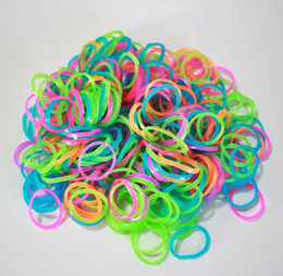 Wholesale Loom Wholesale - Fluorescent Rainbow Rubber Loom Bandz total 1200 bands+ 48 S C-Clips