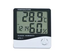цифровой жк-гигрометр часы термометр оптовых-Многофункциональный HTC-1 Цифровой ЖК-дисплей Гигрометр Температурно-влажностный термометр Часы с батареей