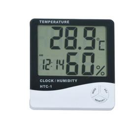 Funciones del termómetro online-Multifunción HTC-1 Digital LCD Temperatura Humedad Higrómetro Termómetro Reloj con batería