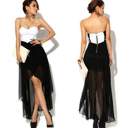 Wholesale Asymmetric Chiffon - S5Q Women Summer Skirt Asymmetric Cocktail Party Evening Dress Sexy Strapless Dress AAABSU