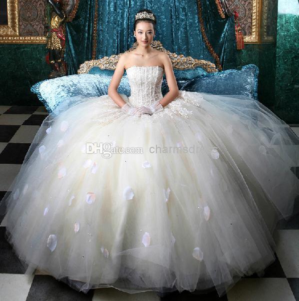 Envío gratis Nueva llegada de MARFIL de MARFIL Appliques piso longitud Strapless vestido de bola flores vestidos de novia vestido de novia vestido real imagen