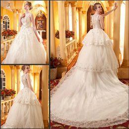 Wholesale Sheer Rhinestone Dresses - Graceful castle sweep train V-neck cascading ruffles organza glitter sequins wedding dresses beaded rhinestones sheer back sleeveless gowns