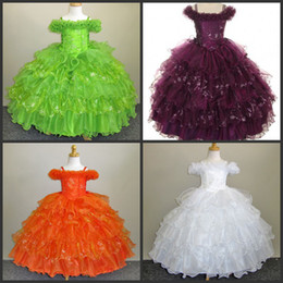 Rubans À Broder Pour Filles Pas Cher-2014 Flower Girls Pageants Robes Layered Spaghetti Ruban Ruffles Sans manches Ball Gown Beads Broderie Fleurs Sequins Tulle Dress