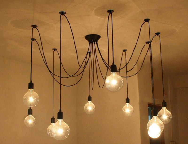 Edison Design Pendelleuchte DIY RH Loft Amerikanischen Land Industrial Edison Vintage Deckenleuchten Hause Kronleuchter Licht Spinne Pendent Lampen