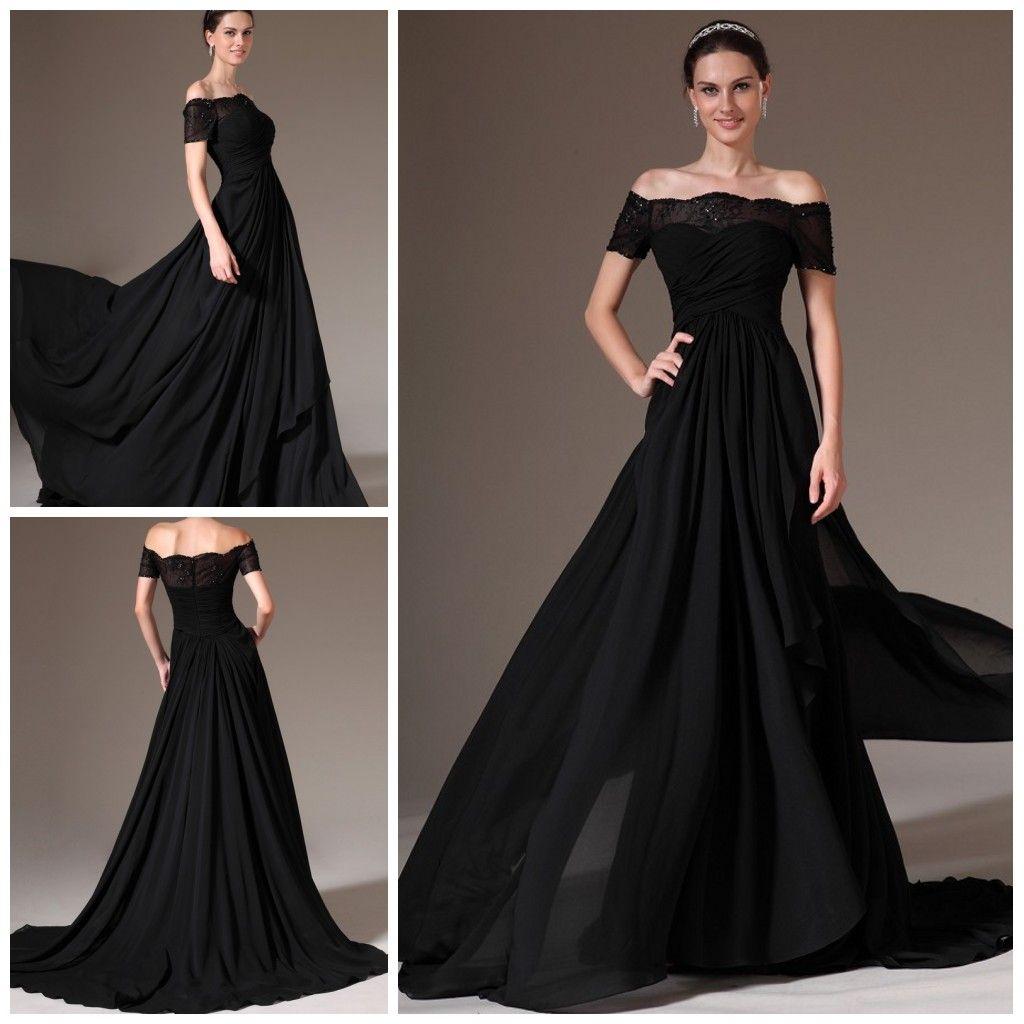 2014 New Arrival Black Long Evening Dress Off The Shoulder A Line ...