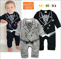 Wholesale Romper Thicken - 2014 New Arrival Babies Clothing Gentleman Printing Pure Cotton Thicken Baby Boys Dress Romper Party Jumpsuits Toddler Rompers Wear QZ306