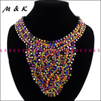 Wholesale Collar Women Exaggerated - 15% Off Luxury Exaggerate Boho Style National Hand Made Collar For Women Dress Colorful Beads Choker Statement Necklaces N708