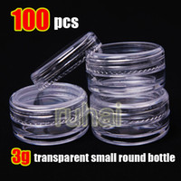 Wholesale Storage Bottles Jars Wholesale - Wholesale - Free shipping - Promotion 100pcs 3g transparent small round bottle jars pot,clear plastic container for nail art storage