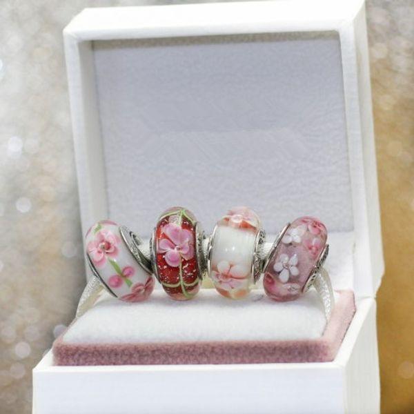 925 ALE Sterling Silber Schraubenkern Pink Murano Glas Charm Bead Set passend für Pandora Jewelry Charm Bracelets SE009