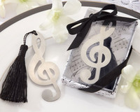 "Wholesale Wholesale Novelty Bookmarks - Wedding Party Gifts brushed-metal Bookmark Music Sign Design With Silk Tassel and""For You""Tag Gifts Novelty Gratulation and Xmas Gifts Sale"