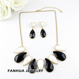 Wholesale Green Gemstone Earrings Statements - New Design Fashionable Gold Color Alloy Colorful Big Water Drop Imitation Gemstone Statement Necklace with Dangel Earring Sets
