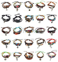 Wholesale Love Wooden Beads - Retro Braid Leather Bracelet Cross Wooden Bead Bracelet Love Bracelet Charm Bracelet Jewelry [B374-B833]