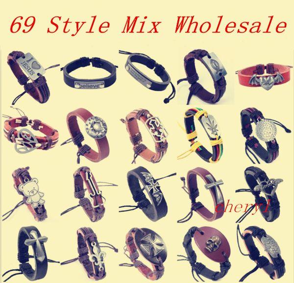 best selling Punk Leather Bracelet Mix Style Wholesale Rope Charm Pandent Free Size Adjust Letter Cross Love JESUS Believe Peace Sign Pattern Bracelets