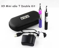 Wholesale Ego Blister Double - In Stock mini X9 kits mini eGo T Blister kit mini protank X9 with double ego battery e cig e cigarette ego cigarettes Electronic Cigarette