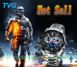 Wholesale Waterproof Dive Watches For Men - 2014 Newest Fashion Man Watches Sport Watch LED Analog Dive Watch for Men Dual Movements Waterproof quartz flsorescence Dual Display Trendy