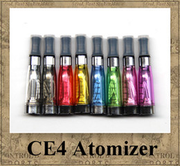 Wholesale E Cig Ce4 Clearomizer Tanks - CE4 Atomizer eGo Clearomizer 1.6ml 2.4ohm vapor tank Electronic Cigarette for e-cig battery 8 colors 4 wick CE4+ CE5 DHL shipping